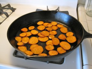 Sweet potato slices cooking