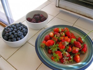 Boysenberries, blueberries, strawberries